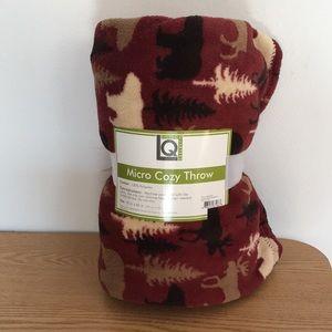 New Micro Soft Cozy Fleece Throw Moose Trees 50x60